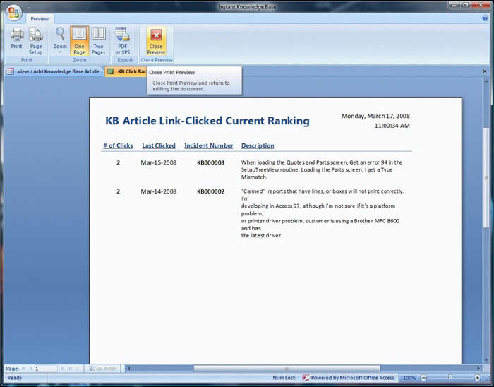 Click through statistics ranking report
