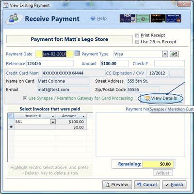 view payment details