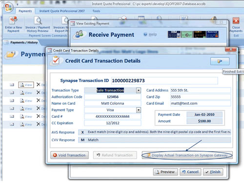 view past avs / cvv response , autorization code and transaction id
